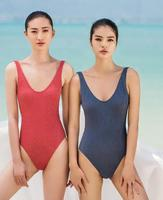 July Sand Open Back Textured Fabric Sexy 2017 Swimsuit