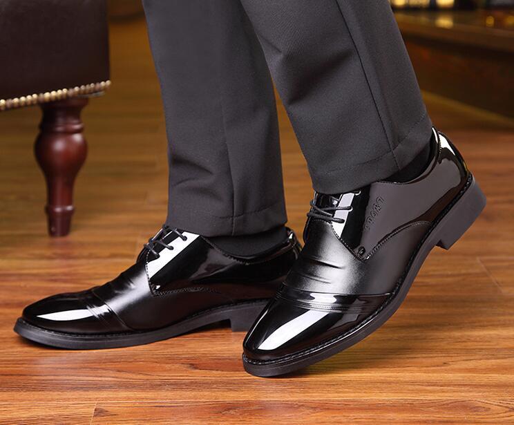 As Partido Terno Envernizado Pontas Primavera Sapatas Preto up Do Negócio Homens Das Dos Trabalho Lace Sapatos Maré Pic Couro De UtTqY