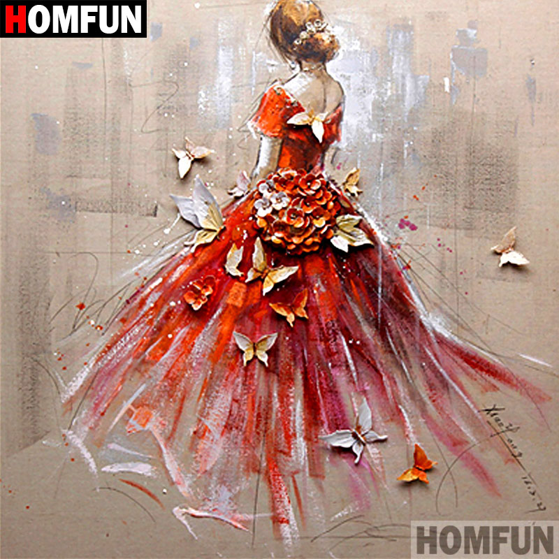 HOMFUN 5D DIY Diamond Painting Full Square/Round Drill Ballet girl 3D Embroidery Cross Stitch gift Home Decor Gift A08052 image