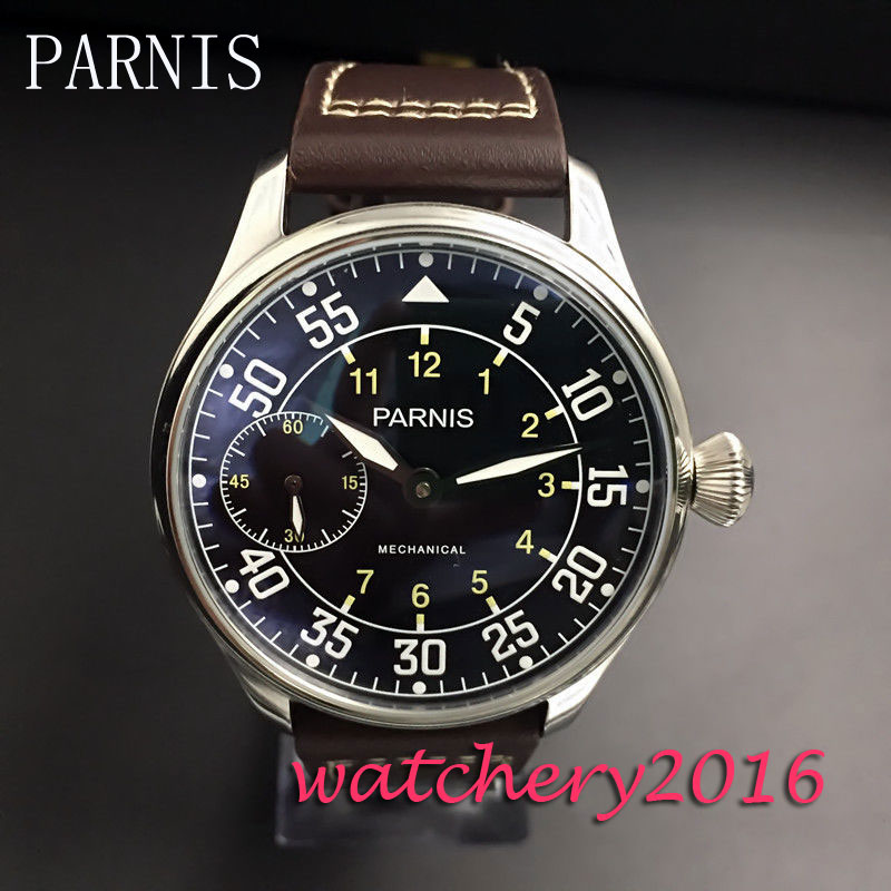 new 44mm parnis black dial White marks stainless steel 6497 Hand Winding Men's WristWatch electric apc by schneider electric toolless cable management rings qty 100