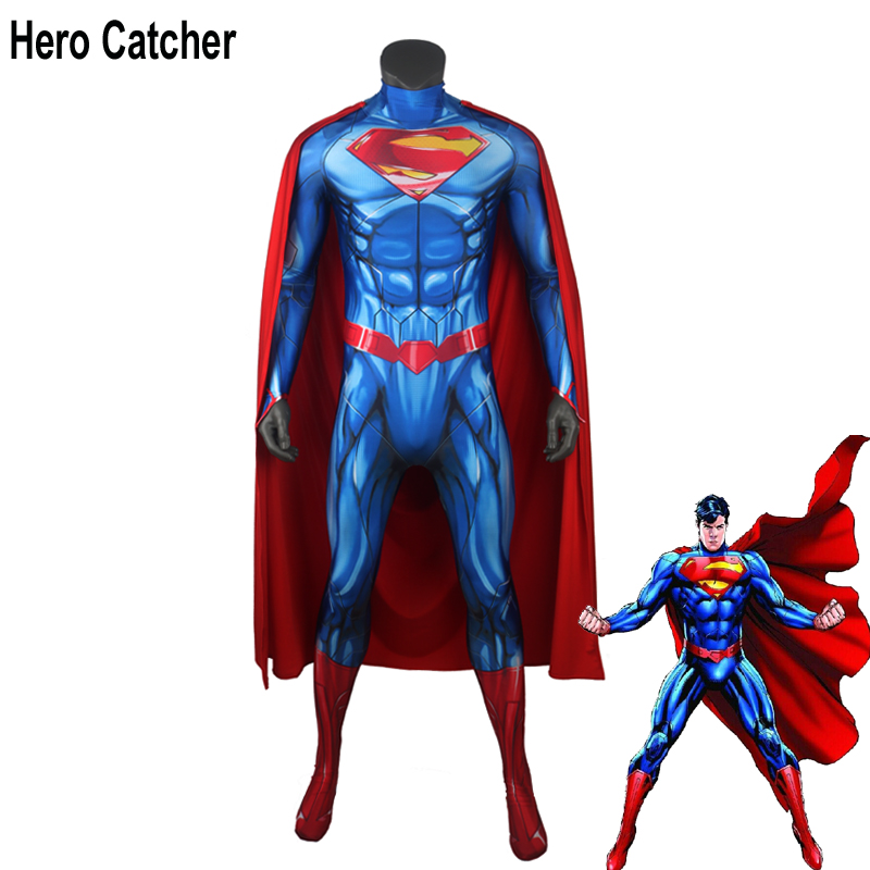 Hero Catcher New Superman Cosplay Costume With Cape 3D Print Superman Suit For Halloween 52 Superman Outfit