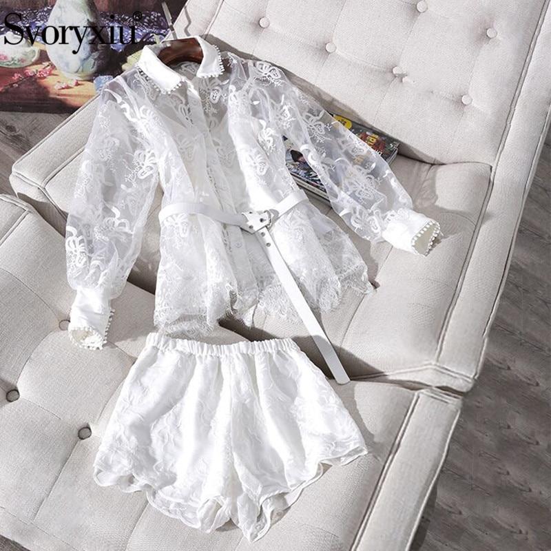 Svoryxiu Designer Summer White Lace Shorts Two Piece Set Women s Long Sleeve Organza Blouse Shorts