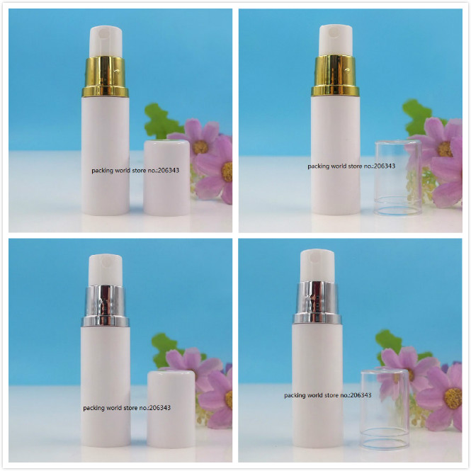 5ML white plastic airless bottle with gold/silver sprayer pump clear white lid for toner/liquid/toilet/water sprayer skin care