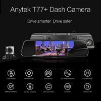 Anytek T77 + Видеорегистраторы для автомобилей Двойной объектив Сенсорный экран FHD Автомобильный Камера видео Регистраторы Зеркало заднего вид
