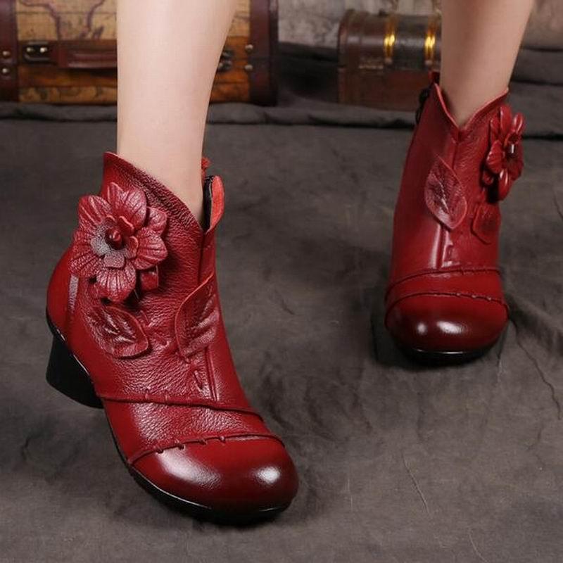 Mano B1875 De A Pieles Niza Auténtico Mujeres Mujer Cuero Gris Chaussure Nieve rojo Señora Hechas Botines Casual Calidad Animales Alta Botas ZnqZUwf7