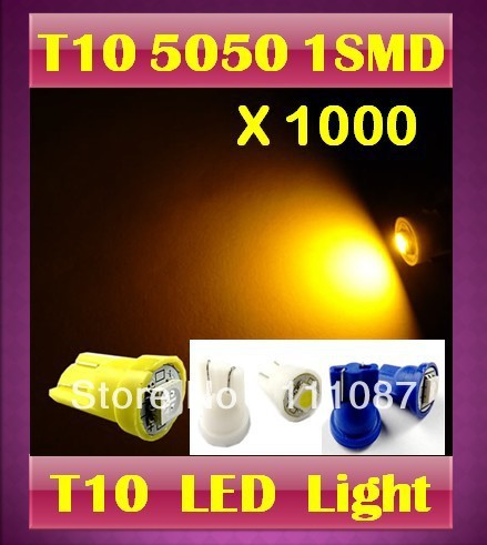 Factory Direct ! 1000 X T10 1 SMD 5050 W5W 194 168  Wedge Bulb parking light licence plate lamp clearance light car door light
