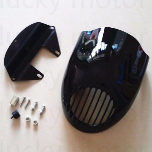 Black Grill Headlight Fairing Mask Front Mount For Harley Dyna Iron 883 Low Glide Sportster 1200 Custom Motorcycle black smoke gauntlet fairing front cowl fork headlight custom mask for harley sportster dyna xl1200l xl883c undefined