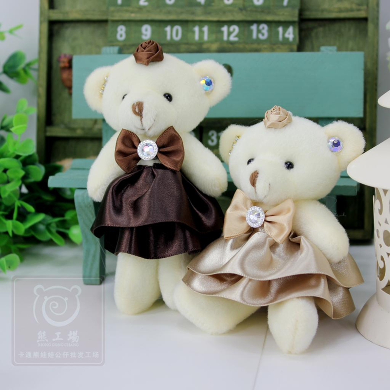 Hotsale 12 pcs/lot Soft Bear Dolls Stuffed Toys Elegant Dress 12cm Stuffed Plush Animals Kawaii Plush Toys peluches de animales