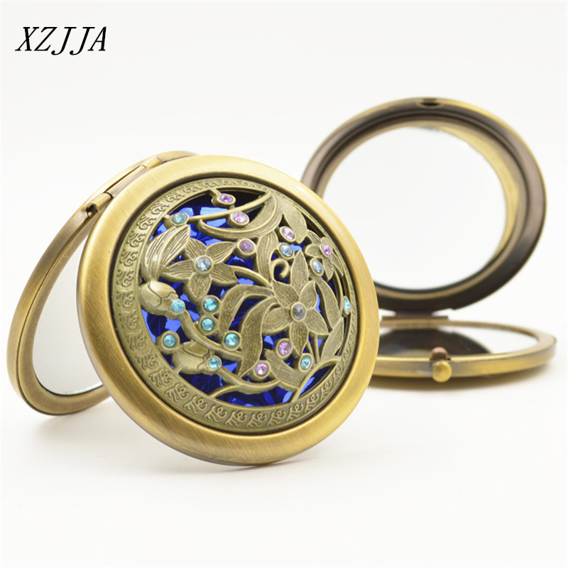 xzjja folding double side decorative mirrors girls womens mini pocket round mirror classical cosmetic makeup compact travel - Decorative Mirrors