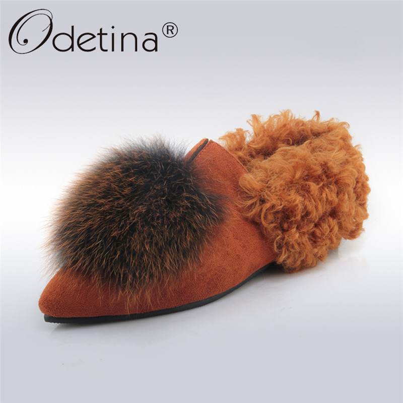 Odetina 2017 New Women Autumn Winter Flat Shoes Real Fox Fur Pointed Toe Flats Slip on Loafers Elegant Footwear Big Size 31-45 new autumn winter parent child women red fox fur hats warm knitted beanies real fur cap high quality kitting female fur hat