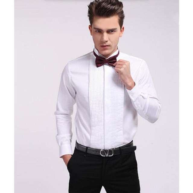 f2168e5972f6 Fashion custom make Men Dress Shirts white Color Long Sleeve lapel Mens  Clothing wedding occasion groom suit shirt
