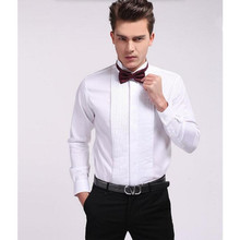 Fashion custom make Men Dress Shirts white Color Long Sleeve lapel Mens Clothing wedding occasion groom suit shirt