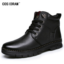 New 2016 Winter Split Leather Men Boots Warm Plush Ankle Boots With Fur Fashion Botas Hombre Martin Work Shoes For Men BRM-729