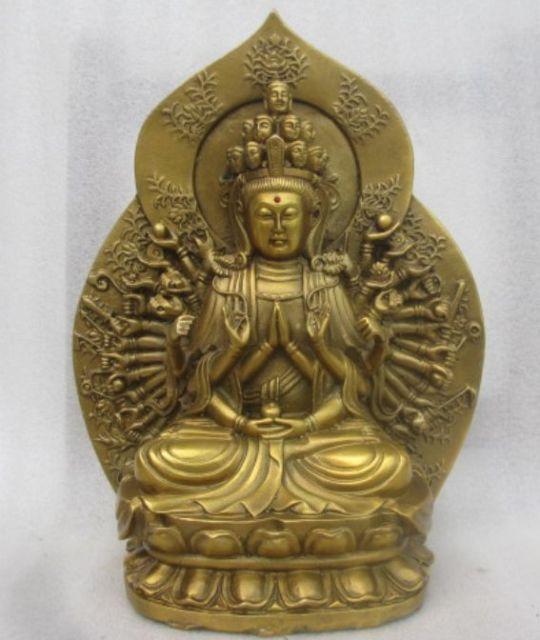 Elaborate Chinese handmade brass sculpture of guanyin bodhisattva BuddhaElaborate Chinese handmade brass sculpture of guanyin bodhisattva Buddha