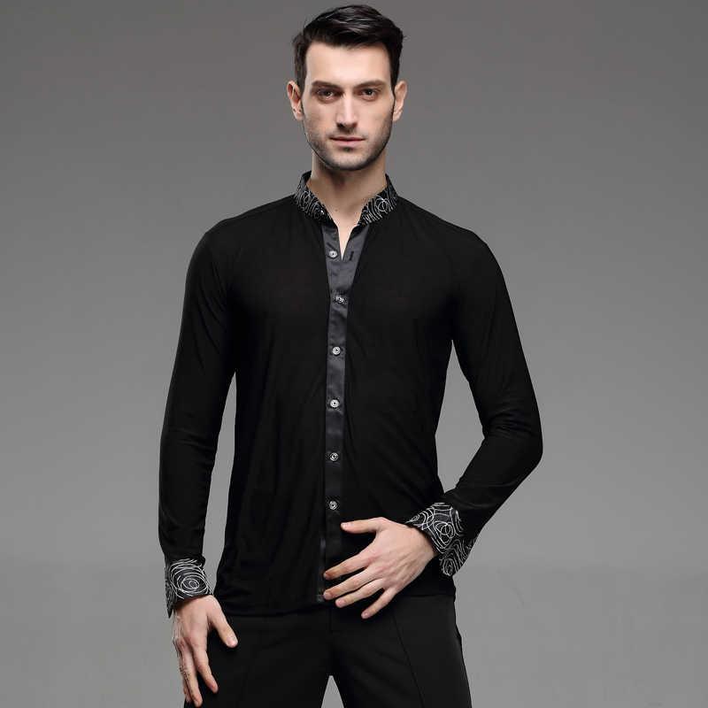 fdf3be5787ce ... sexy Latin Dance Dress New Male Adult Latin Dance Shirt Mens Shirts  Training Clothes Modern Rumba