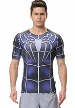 Red Plume Men s Compression Tight Fitness Shirt Spider Man Armor Sports T shirt
