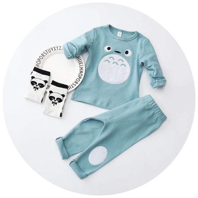 Outono inverno Crianças Meninos Das Meninas Do Bebê Pajams conjuntos pijamas das crianças Dos Desenhos Animados crianças pajama set Tops + Pants Set Totoro define 2 pcs