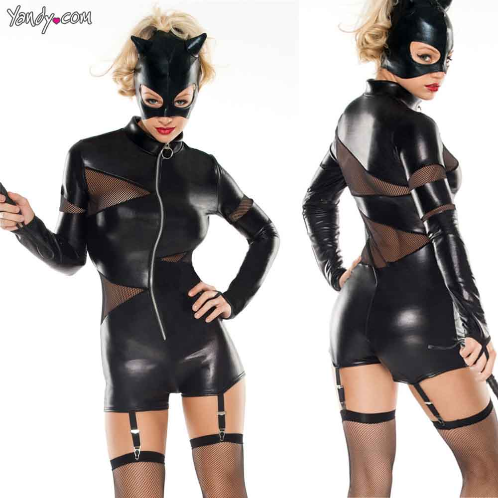 Patent Leather Mesh Patchwork Perspective Long Sleeve Zipper Open Front Stand Collar Bodysuit Eyra Cat Women DS Wear With Hat