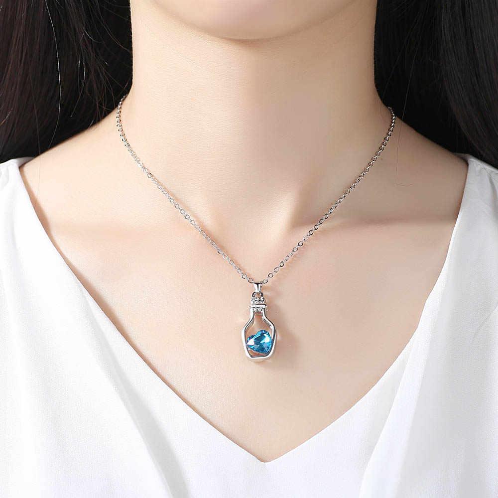 Dovolov сердце в бутылке кулон ожерелье из хрусталя для женщин Мода Заявление первоначальное ожерелье ювелирные изделия оптом A521