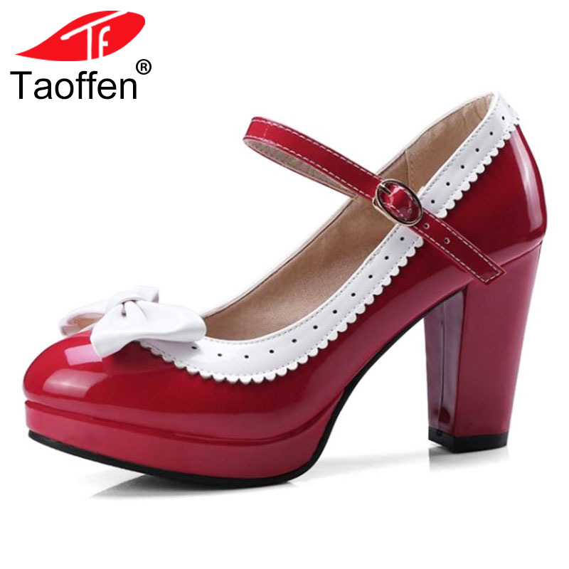 TAOFFEN Size 32-48 Sexy Women Bowtie Round Toe High Heel Shoes Women Ankle Strap Thick Heels Pumps Party Dress Women Footwears h 264 1mp hd 720p ip camera poe outdoor ip66 network 1280 720 bullet security cctv camera p2p onvif night vision 40m ip camera