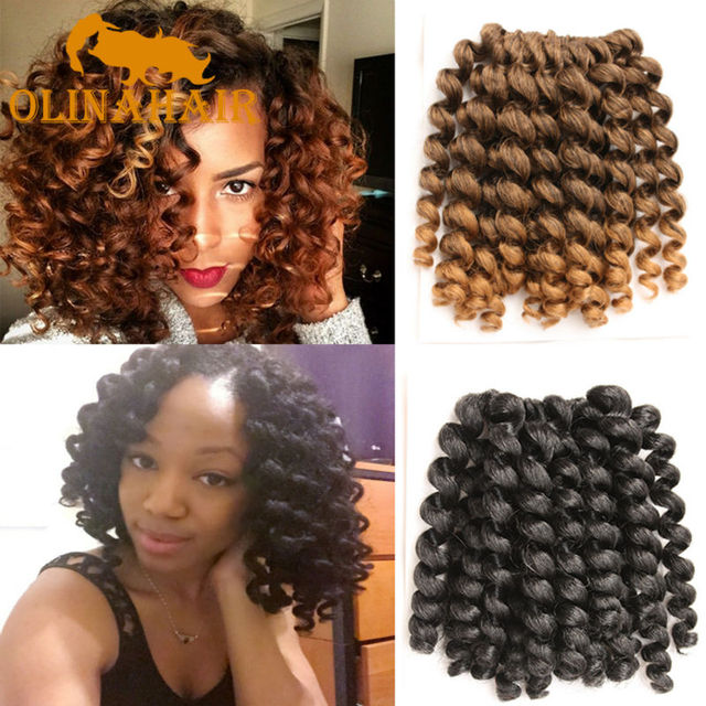 8 10 Inch Wand Curl Crochet Hair Extensions Ombre Kinky Twist Hair