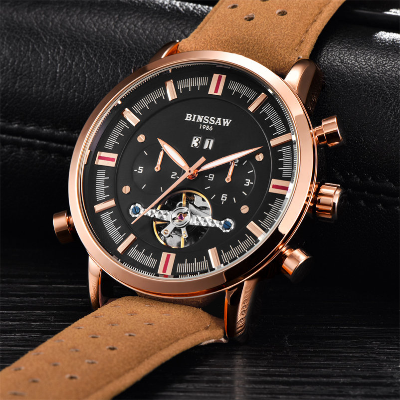 Luxury Top Brand BINSSAW 2018 New Men Tourbillon Automatic Mechanical Watch Big Waterproof Small Leather Military Sports Watches 2017 forsining leather automatic watch mens watches top brand luxury sports men military waterproof tourbillon mechanical watch