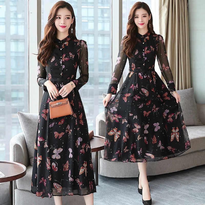 Осень Зима Новое винтажное цветочное шифоновое платье миди XL Плюс размер платья