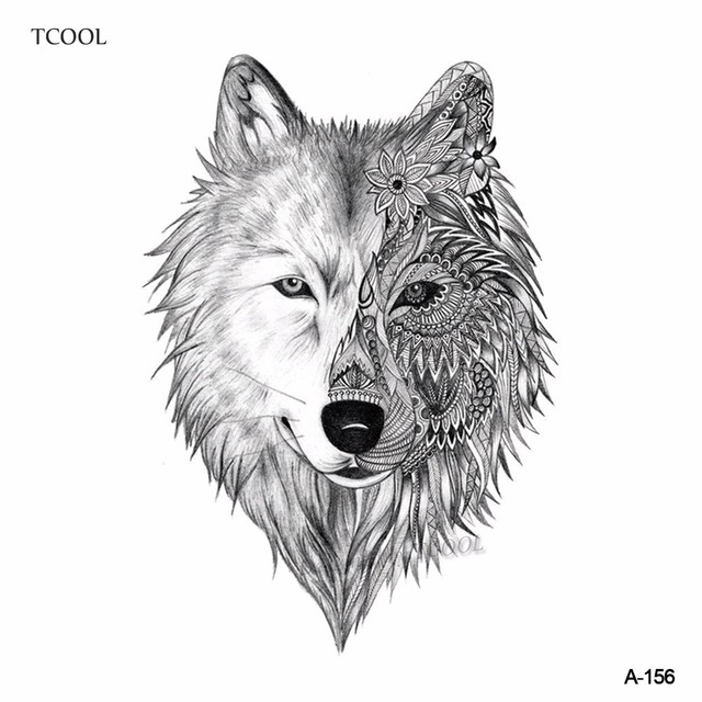 Tcool Loup Tatouage Temporaire Autocollant Animal Tatouages Pour Les
