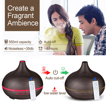 550ML Remote Control Ultrasonic Air Humidifier Essential Oil Diffuser Aroma Lamp Aromatherapy Electric Aroma Diffuser Mist Maker