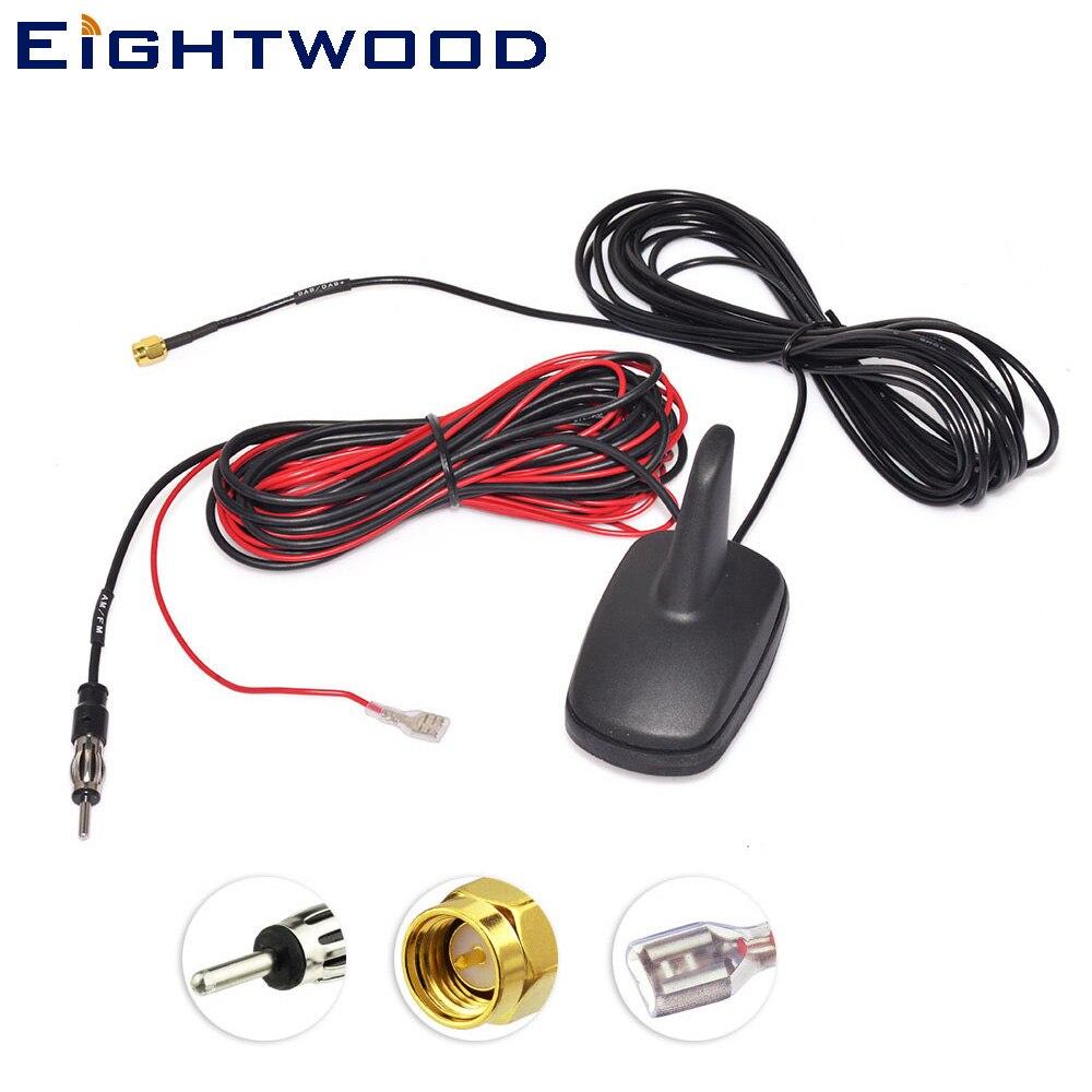 Eightwood DAB + FM/estoy Digital del coche antena de Radio montaje en techo alerón con forma de aleta de tiburón con amplificado conector sma para JVC pionero Superbat 698-960/1710-2170/2500-2600MHz 4G LTE, antena 5dbi CRC9, amplificador de Clip para teléfono móvil, enchufe aéreo macho para módem Huawei USB