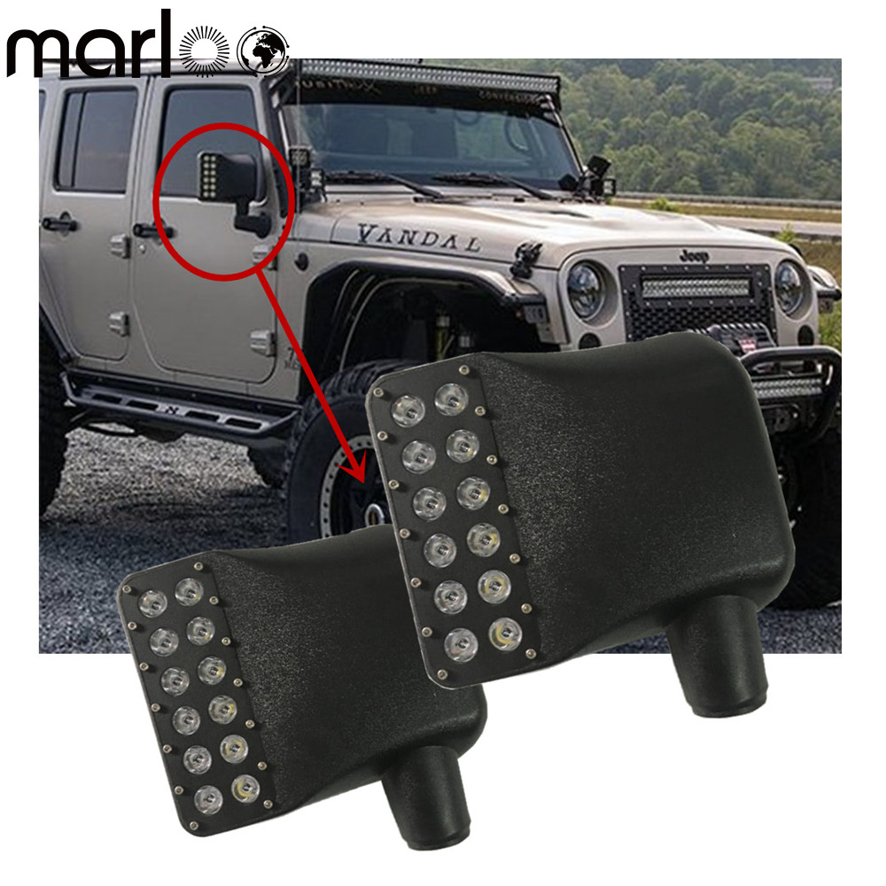 Marloo Car styling Led Side Mirrors light with LED Amber Signal and Daytime Running Light For 2007-2017 Jeep JK Wrangler combo for 2007 2015 jeep wrangler smoke lens amber led front turn signal light fender side marker parking lamp