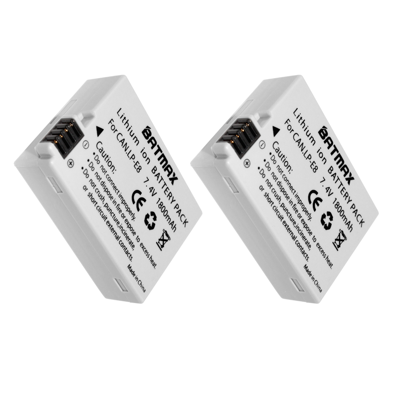 купить 2-Pack LP-E8 LP E8 LPE8 Camera Battery Pack For Canon EOS 550D 600D 650D 700D Kiss X4 X5 X6i X7i Rebel T2i T3i T4i T5i Batteries по цене 956.72 рублей