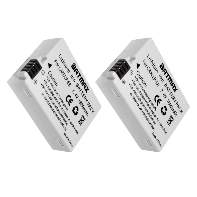Pack de 2 LP-E8 LP E8 LPE8 Cámara Paquete de batería para Canon EOS 550D 600D 650D 700D beso X4 X5 X6i X7i rebelde T2i T3i T4i T5i baterías