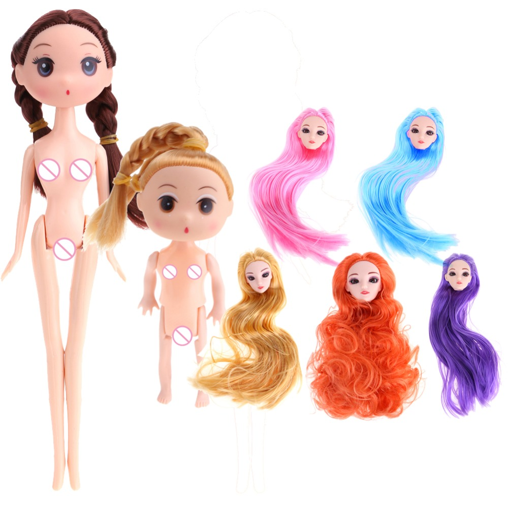 12/24cm Toy Doll Body Joints Heads for Barbie Princess Solid Environment-Friendly Baking Cake Naked Body Doll Gift for Girls