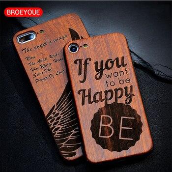 BROEYOUE Bois étui pour iphone 5 S 5 SE 6 6 S Plus En Bois de Bambou TPU En Relief Téléphone étui pour iphone 7 Plus étui pour téléphone antichoc