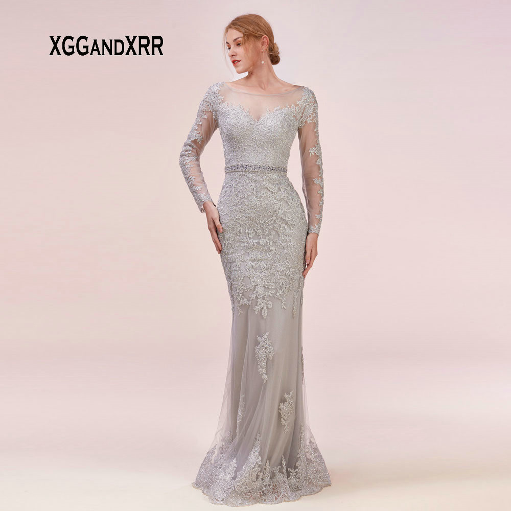 New Illusion back Long Sleeves Lace   Evening     Dress   2019 Scoop Mermaid Prom   Dress   Floor Length Plus Size Custom Made Formal Gown