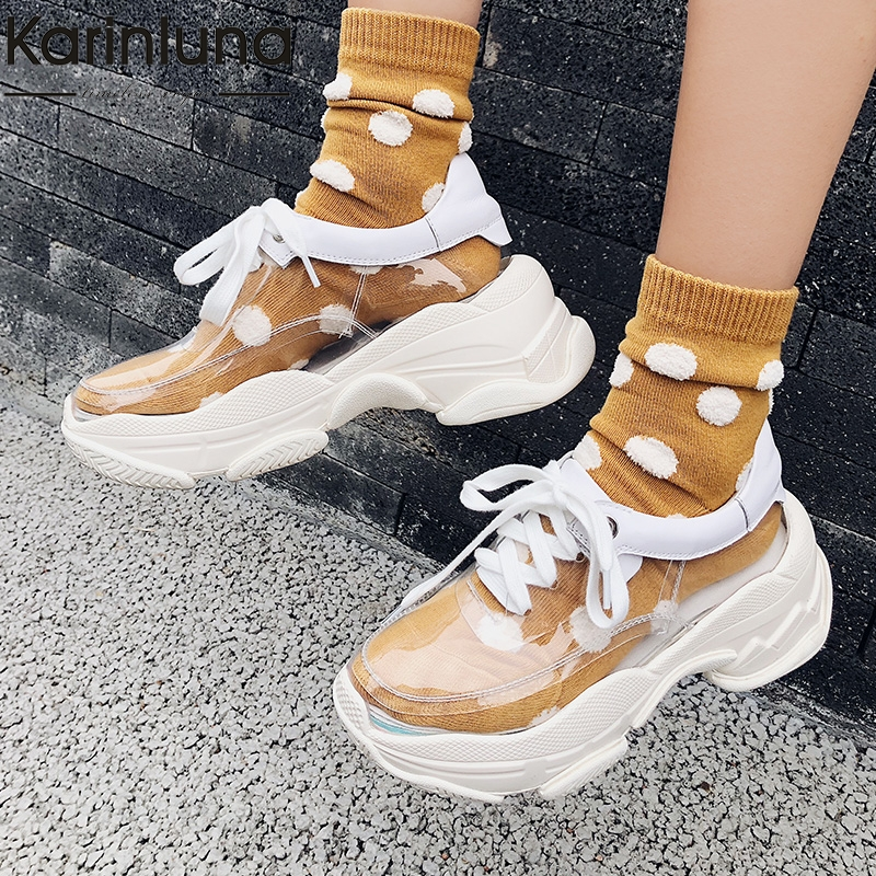 Brand Big Size 33 40 Spring Cow Leather Luxury Dad Shoes Sneakers Lace Up Shoes Woman