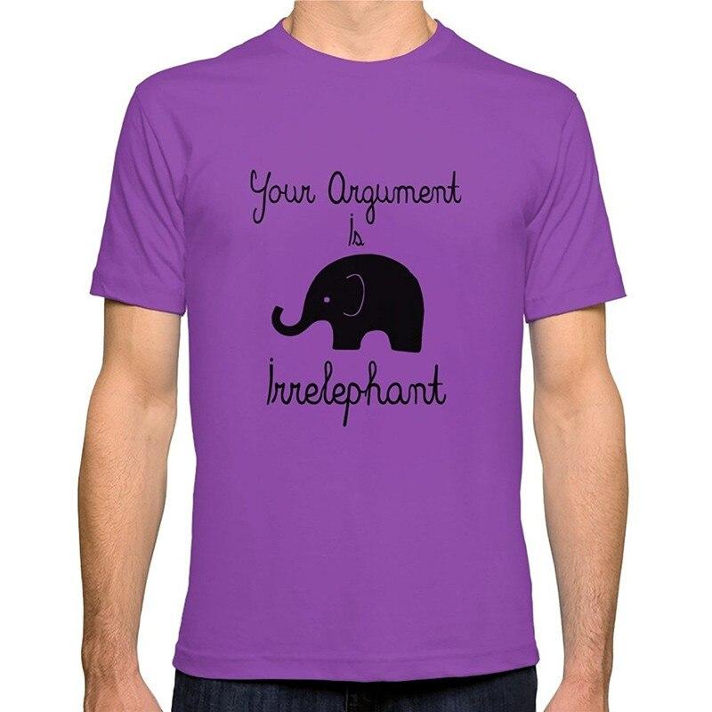 Fashion Sale 100% Cotton  Your Argument Is Irrelephant Crew Neck Short T Shirts For Men