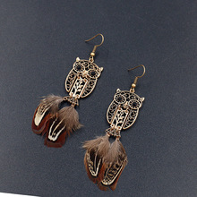 Vintage Bohemian Owl Earrings for Women Handmade Cute Charm Jewelry Feather Tassel Retro Boho 2019 New