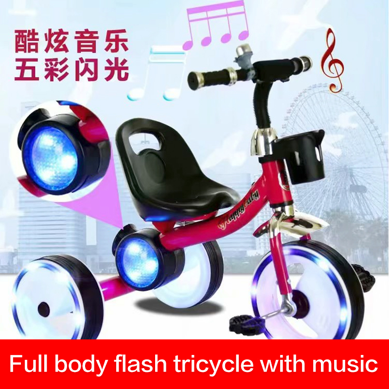 New Children's Tricycle Subwoofer Bicycle with Music Light Wheel with Light Trolley Bicycle Stroller Toys for Children Boys Car