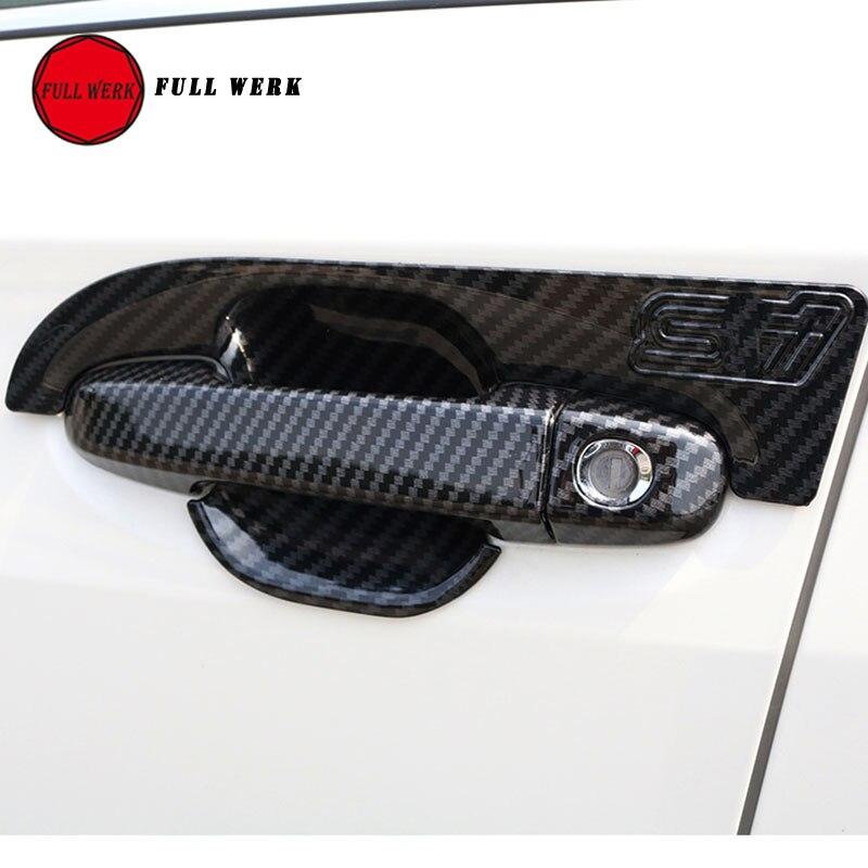 ABS Car Exterior Door Handle Bowl Sticker Cover Protector for Subaru XV 2018 Carbon Fiber Texture Decoration Trim Accessories