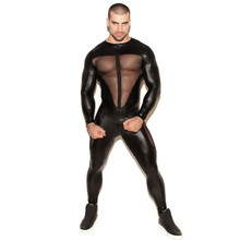 Men Wetlook Faux Leather Bodysuit Latex Catsuit Hot Erotic Mesh Lingerie Zentai fetish Body Wear Jumpsuit Open Crotch Clubwear