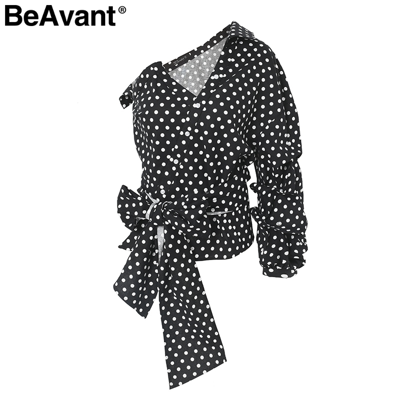 BeAvant Sexy Ruffle Lace Blouse Women Shirts One Shoulder Lantern Sleeve Blouse 2018 Summer White Blouse Shirt Female