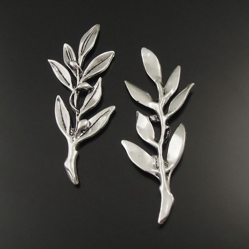Graceangie Tree Branches Jewelry Making Accessory Handmade Crafts Antique Silver Retro Leaves Leaf Component 5pcs 38059-107A-5