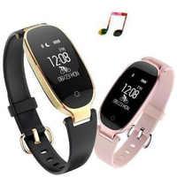 S3 braccialetti per le donne Braccialetto Femminile di Frequenza Cardiaca della vigilanza di sport Mp3 Inseguitore di Fitness smartband Braccialetto smartwatch per apple watch