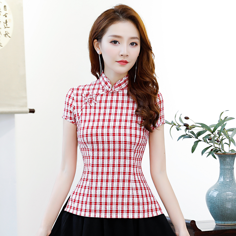Vintage Chinese Style Tang Tops Summer Women's Short Sleeve Blouse Handmade Button Retro Shirt Oversize S M L XL XXL XXXL