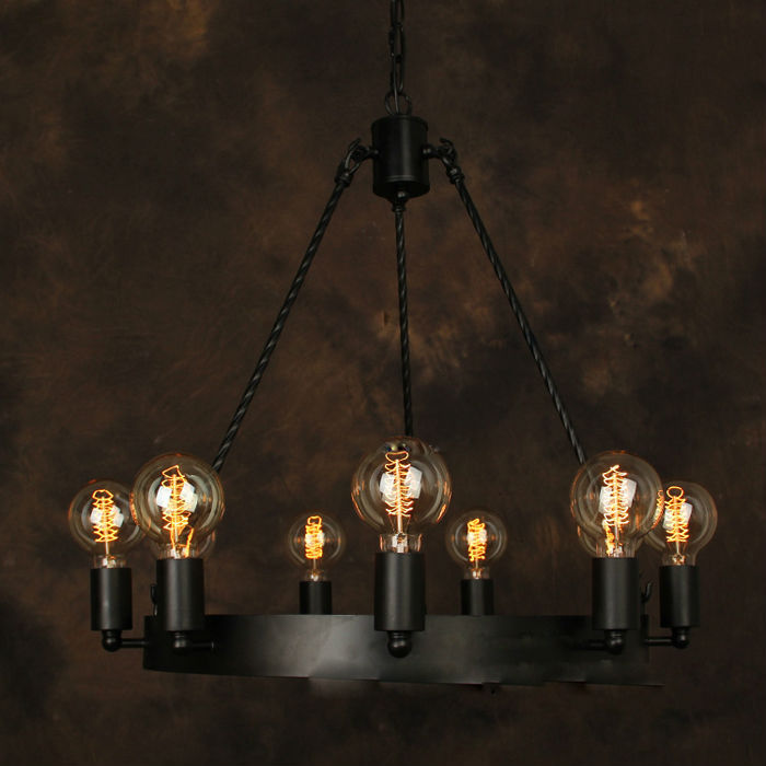 vintage chandelier e27 9pcs industrial edison lamp. Black Bedroom Furniture Sets. Home Design Ideas