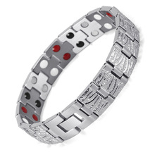 все цены на Health Bracelet Stainless Steel Magnet Jewelry Men Double Row Magnet Bracelet