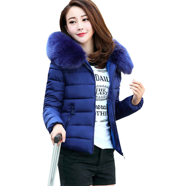 0d147a6418c Nice Women Winter Jacket Coat Cotton Padded Jacket Short Faux Fur Collar  Parka Womens Winter Jackets And Coats ZY1648