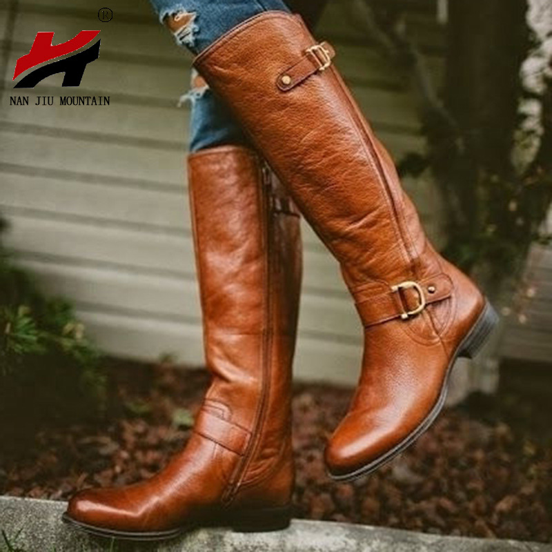 NAN JIU MOUNTAIN Long Tube Women's Boots Autumn And Winter New Fashion Flat PU Leather Shoes Woman Plus Size 34-43
